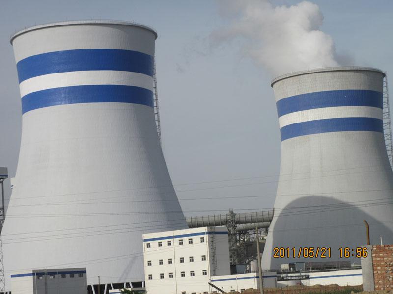 石家庄良村电厂2座105米烟塔刷航标工程